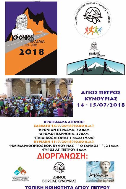 Διοργάνωση δρομικού διήμερου 14 - 15 Ιουλίου 2018 στα χωριά του Πάρνωνα