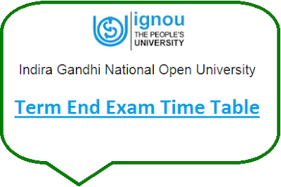 IGNOU TEE Time Table Dec 2019