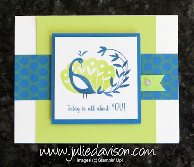 Stampin' Up! Beautiful Peacock Sale-a-Bration 2018 Swap ~ www.juliedavison.com