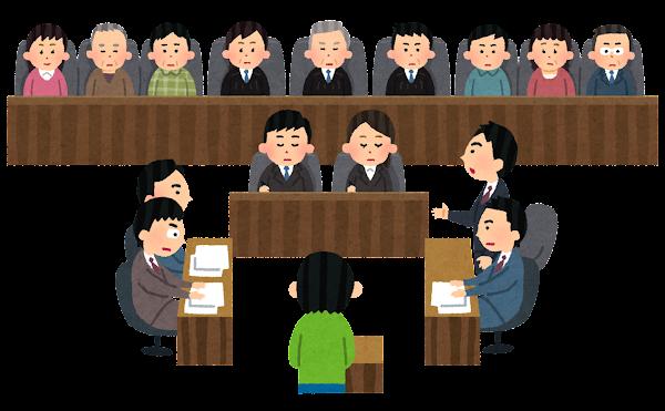 裁判のイラスト(木槌なし・陪審員制度)