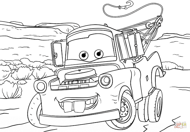 Click The Tow Mater From Cars  Coloring Pages