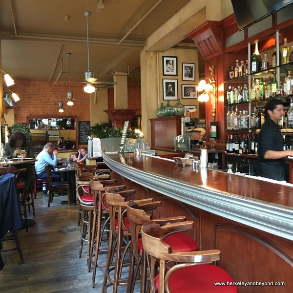 bar at Cafe de la Presse in San Francisco, California