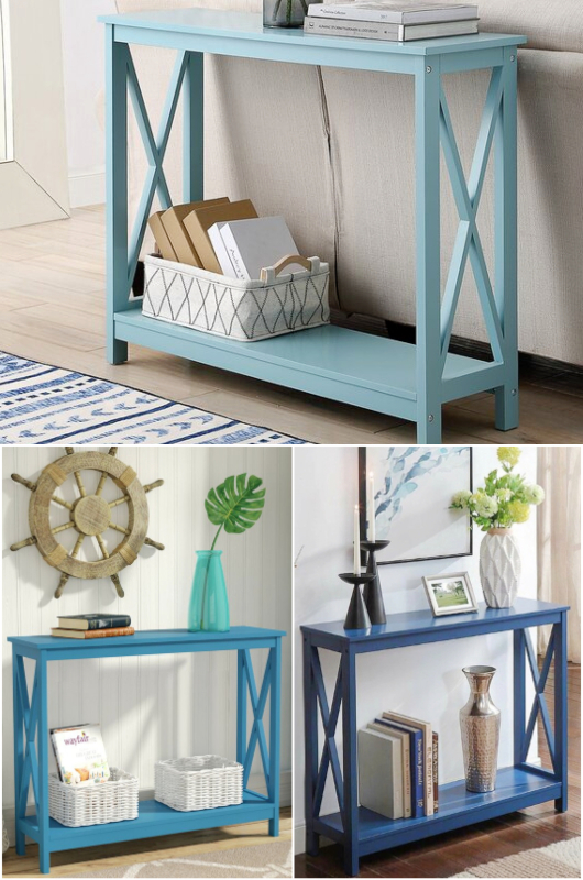 Simple Inexpensive Blue Console Tables for Coastal Living