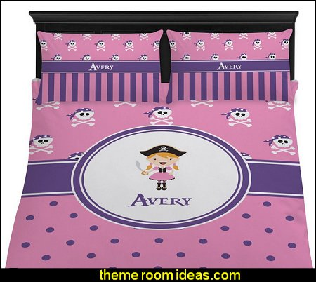 Pink Pirate Duvet Cover Set  pirate bedrooms - pirate themed furniture - nautical theme decorating ideas - pirate theme bedroom decor - Peter Pan - Jake and the Never Land Pirates - pirate ship beds - boat beds - pirate bedroom decorating ideas - pirate costumes