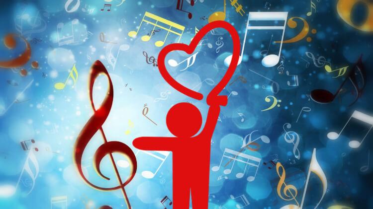 Notas músicais num fundo azul iluminado e um desenho minimalista de um homem com um coração ni alto dele