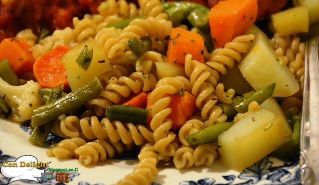 ירקות ופסטה בתנור Pasta and vegetables in the oven