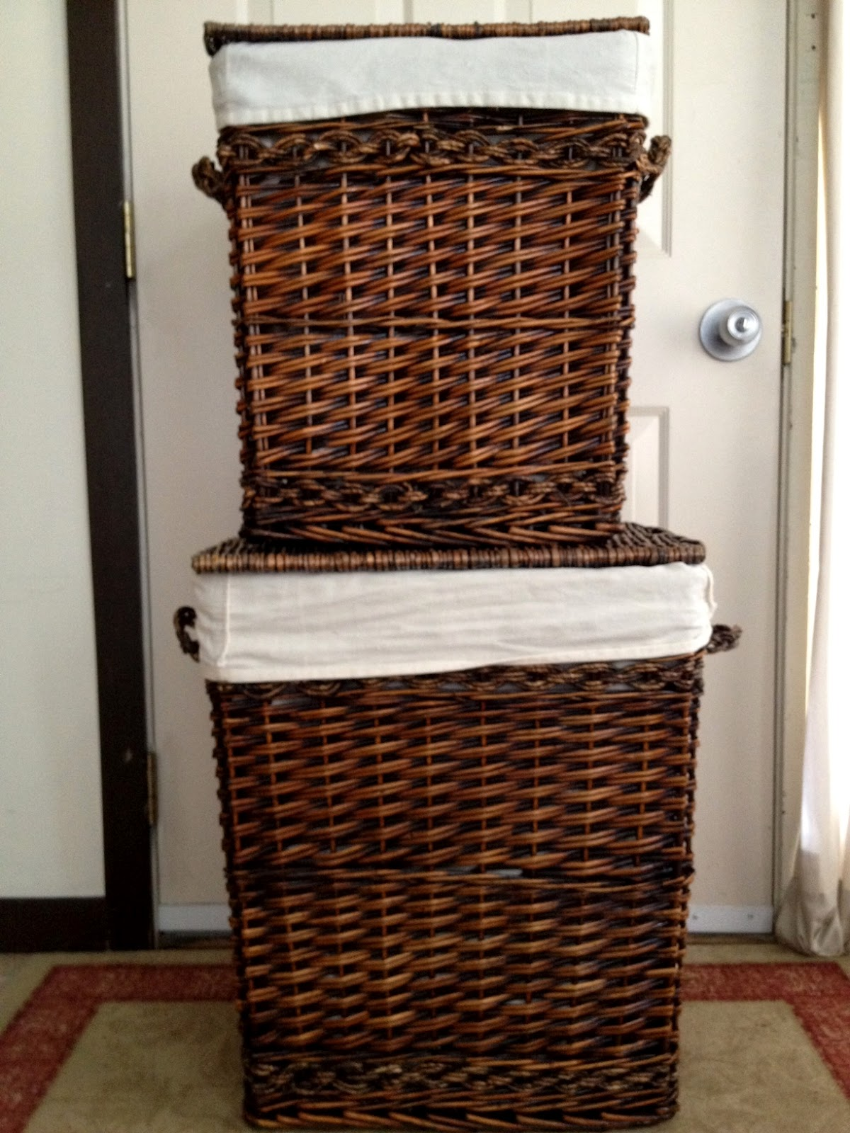 Dark Brown Wicker Laundry Basket For Sale In Cooperstown Furniture For Sale