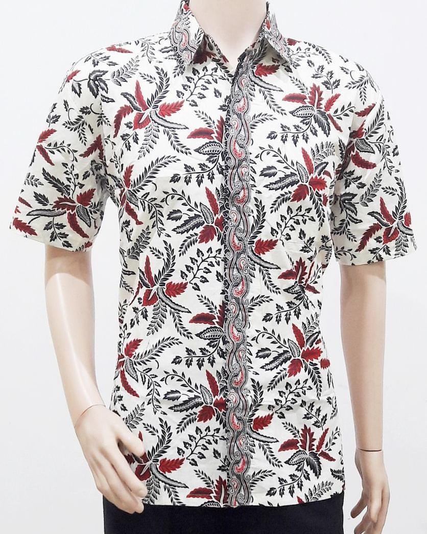 Model Baju Batik Pria Modern Motif Daun Hitam Putih ...