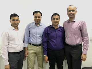 (Left to Right: Akshay Mehrotra (CEO), Ashish Goyal (CFO), Vivek Jain (CTO), Vimal Saboo (CBO)