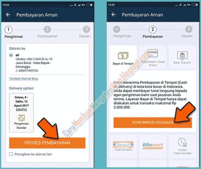 proses pembayaran di aplikasi lazada