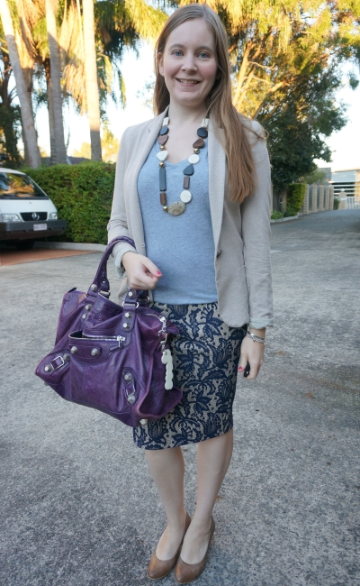 grey v-neck tee in office with cream blazer heels pencil skirt and purple balenciaga work bag | away from the blue