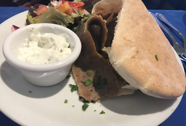 donner kebab starter in pitta bread with dip and salad
