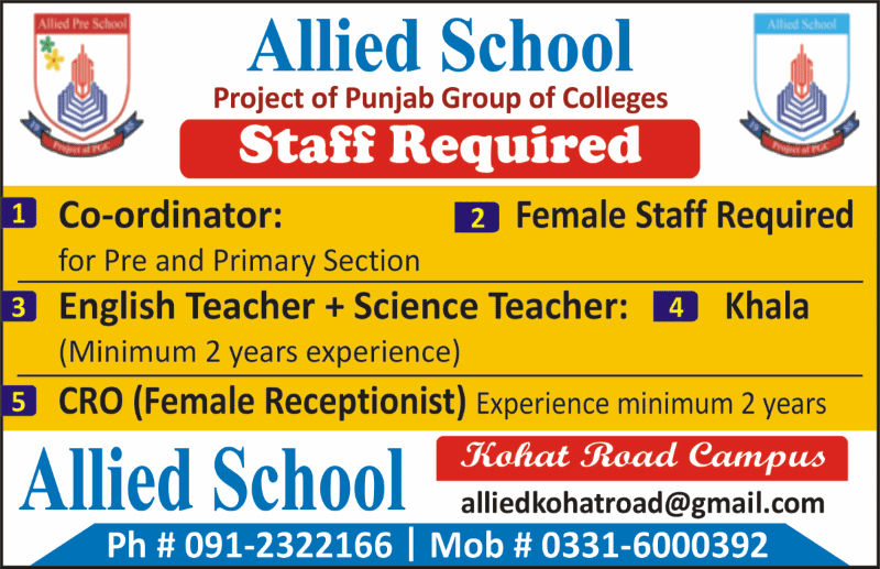 Jobs In Allied School Kohat Road Peshawar 26 Sep 2017