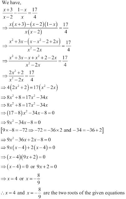 R D Sharma Solutions Class 10th Ch 8 Quadratic Equations Exercise 8 3