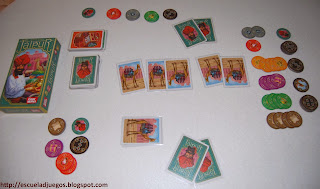 Reseña de Jaipur, filler de cartas para 2 jugadores, distribuido en español por Asmodee.