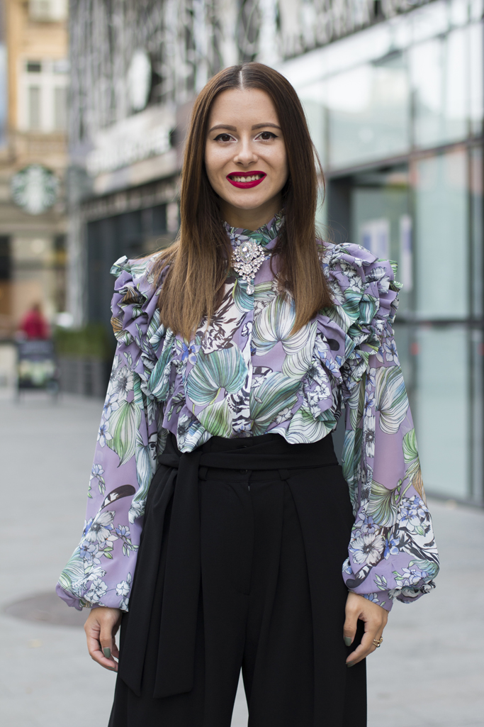 ruffled blouse and palazzo trousers