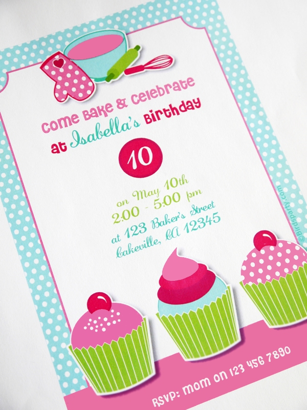 Cake Decorating Birthday Party Invitations : A Very Sweet Pink Cupcake Baking Birthday Party Party ...