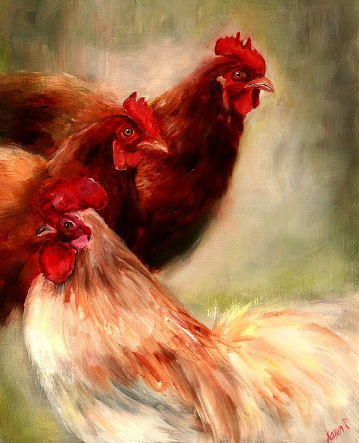 Three Hatted Ladies, an oil painting of 3 hens