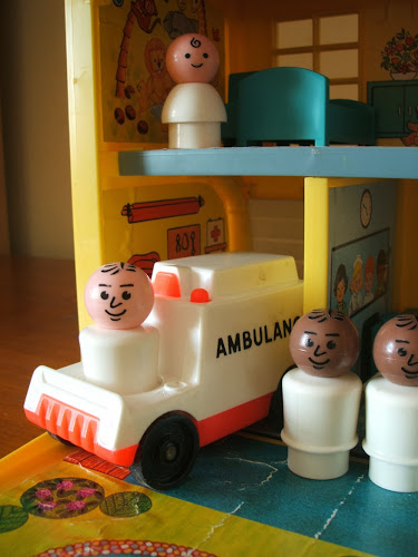 vintage Fisher Price toy hospital 1970s 1980s ambulance