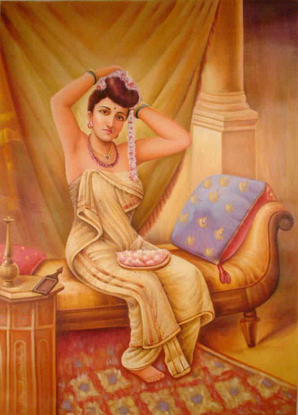 Raja Ravi Varma Paintings: A Nair Woman Adorns Herself