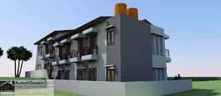 Perspektif 4 Desain Rumah kost minimalis modern 2 lantai