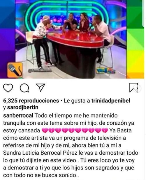 Sandra Berrocal amenaza con demandar a Yomel El Meloso