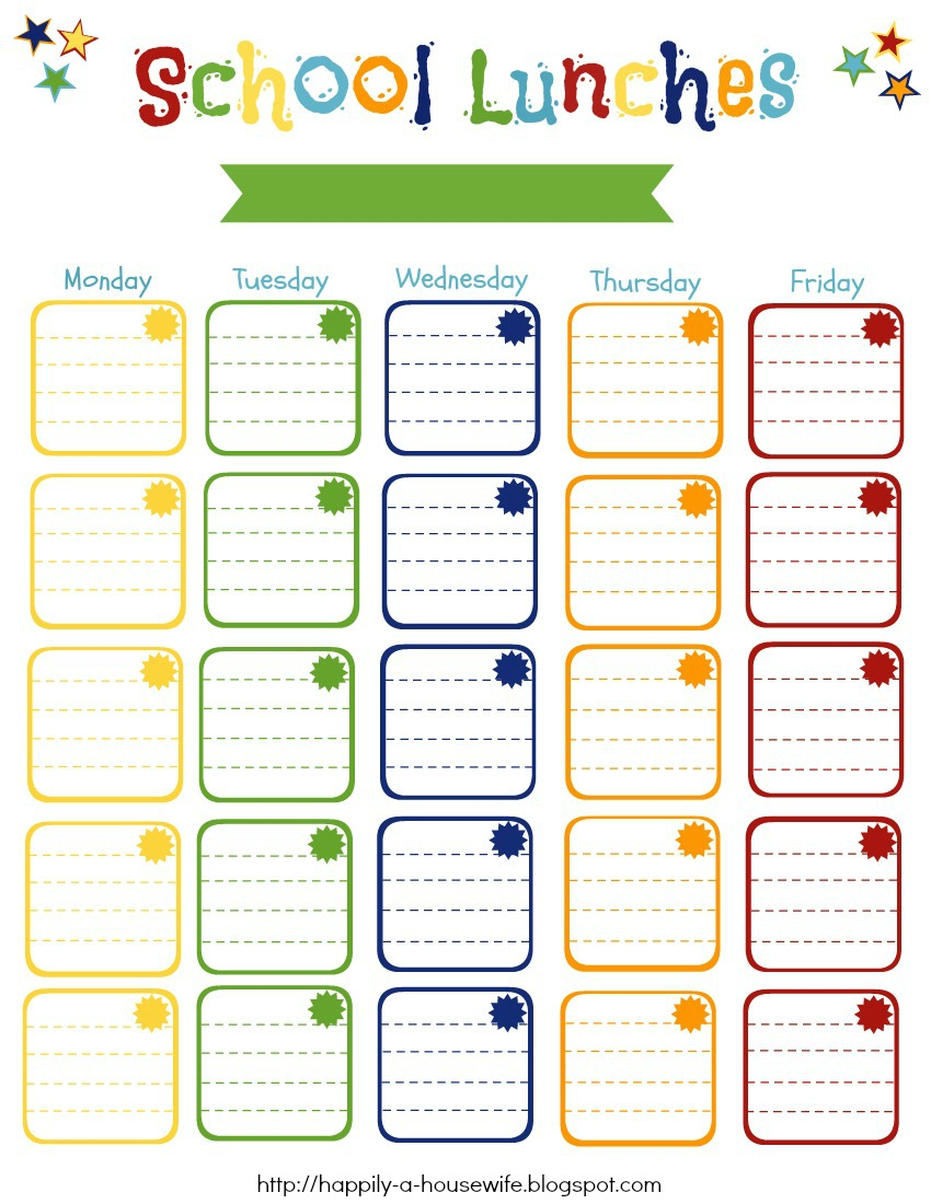 Calendar For Everyday Of The Year Year 2018 Calendar Time And Date Happily A Housewife Back To School 2013 School Lunches