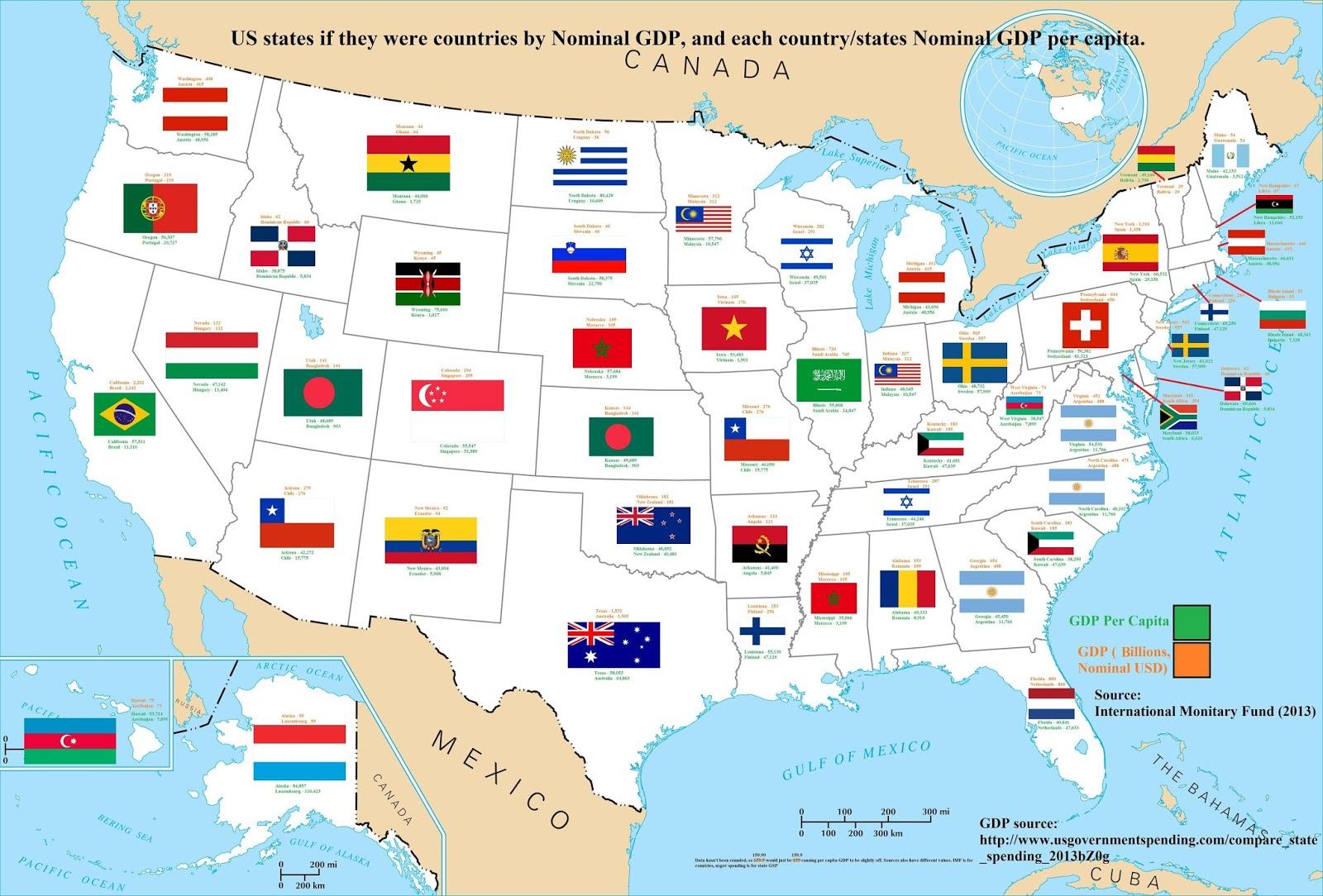 ニューヨーク州はスペイン?アメリカの経済の巨大さがわかる地図【t ...