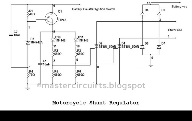 motorcycle rectifier wiring diagram shunt diode rectifier wiring diagram for single phase shunt regulator again. | techy at day ...
