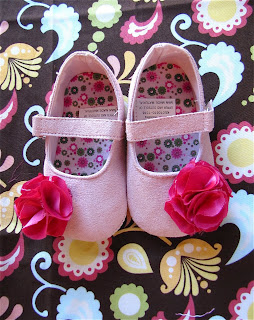 embellish baby shoes with fabric flowers