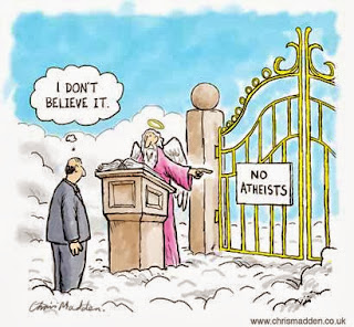 Funny religion cartoon - Atheist in heaven at pearly gates. No atheists.  I don't believe it.  Joke cartoon