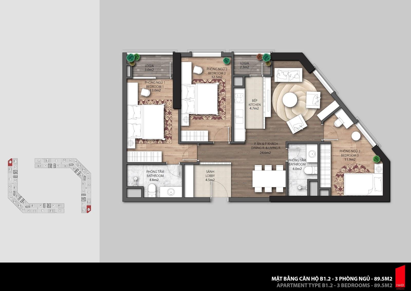 Mặt bằng căn hộ 89,5m2