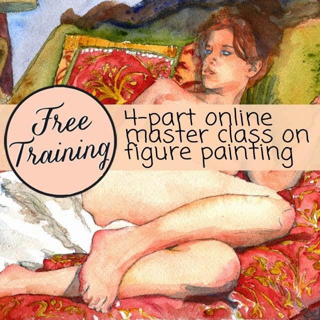 figure painting | watercolor techniques | FREE online art class → http://schulmanart.blogspot.com/2015/05/figure-painting-free-masterclass.html