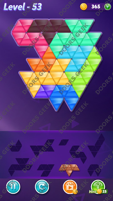 Block! Triangle Puzzle 9 Mania Level 53 Solution, Cheats, Walkthrough for Android, iPhone, iPad and iPod