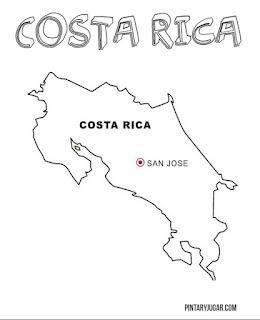 Mapa de Costa Rica para coloroear