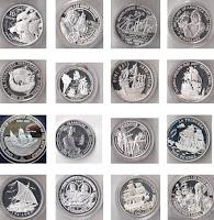 Коллекция серебряных монет. Парусники.