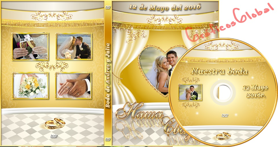 Portada dvd psd con fondo dorado y cortina