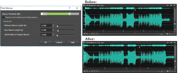 screenshot of trimming silences in WavePad audio editing software