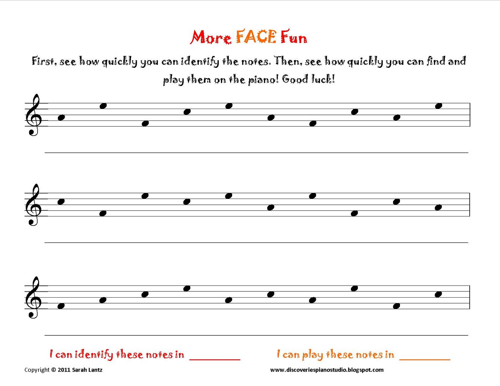 Discoveries Piano Studio: FACE Worksheets