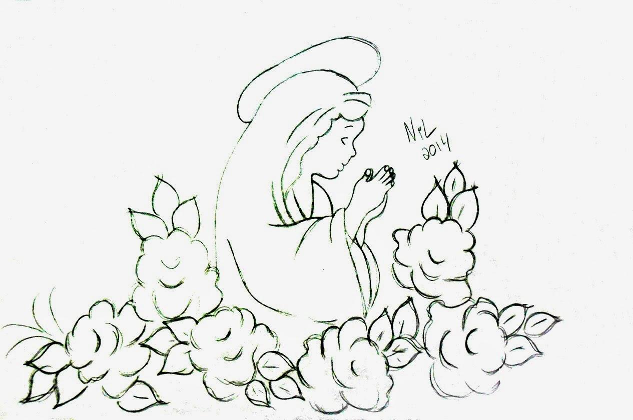 desenho de santa com rosas para pintar em toalha de igreja