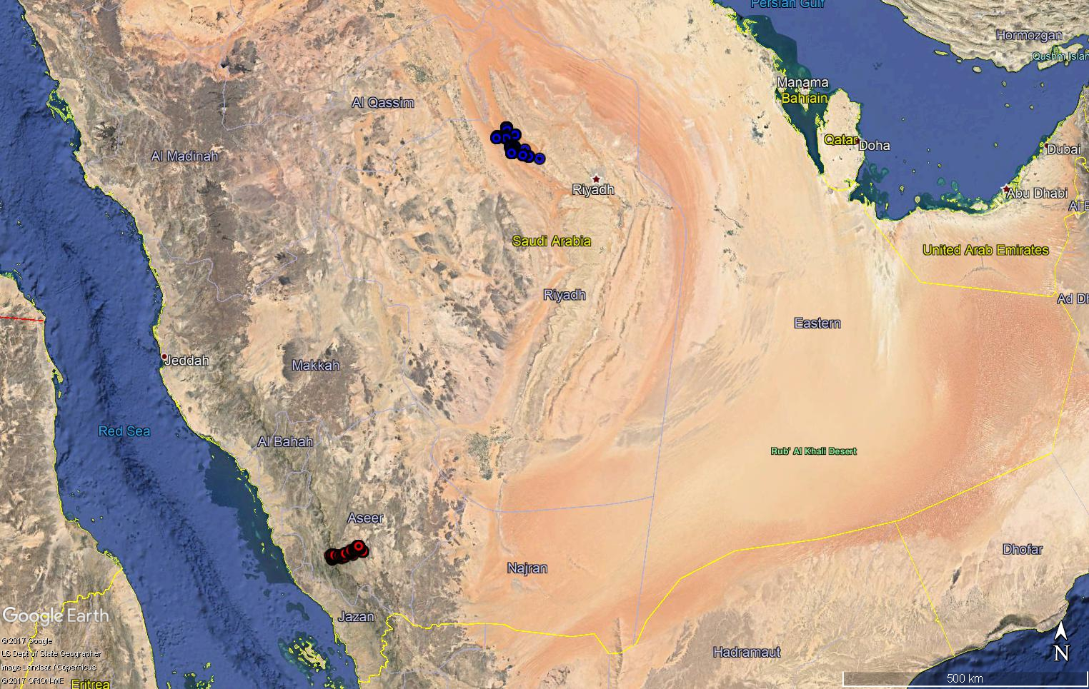 Egyptian vultures in oman 2017 locations of two steppe eagles being tracked by satellite in saudi arabia during december 2017 gumiabroncs Gallery