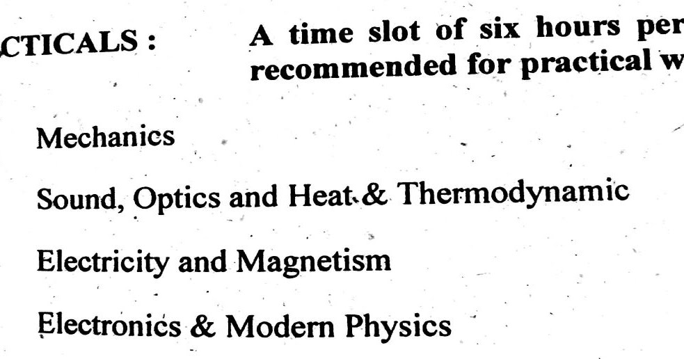 New Syllabus Of B.Sc Physics (Practicals Paper) B.Z.U