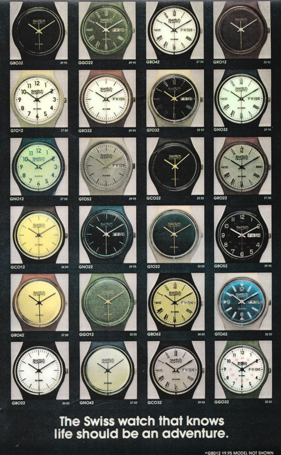 Swatch first series released in USA 1983