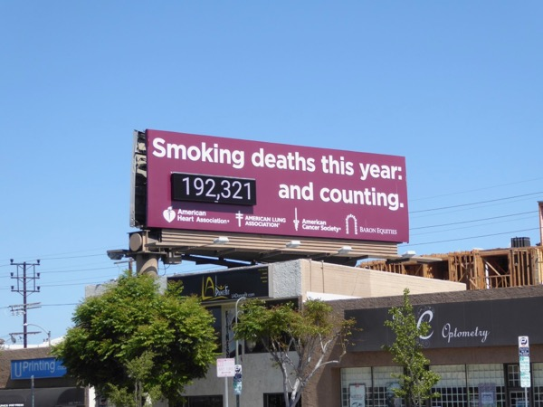Smoking deaths purple counter billboard