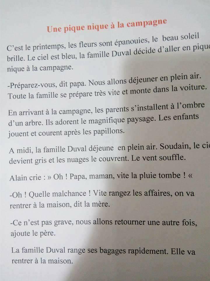 Production Ecrite Une Pique Nique A La Compagne موارد المعلم