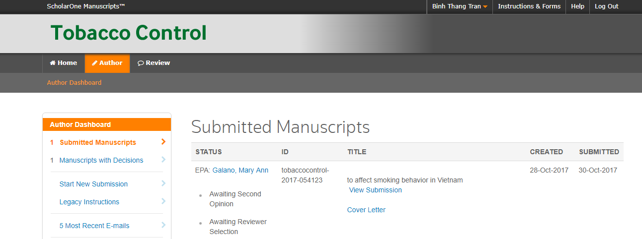 Status for review manuscript submission to journal