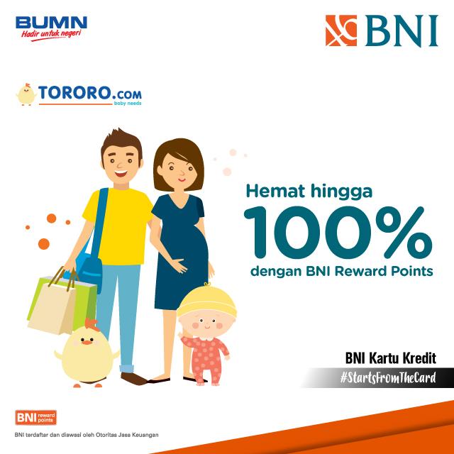 Bank BNI - Promo Hemat s.d 100% Pakai BNI Reward Points di TORORO.COM