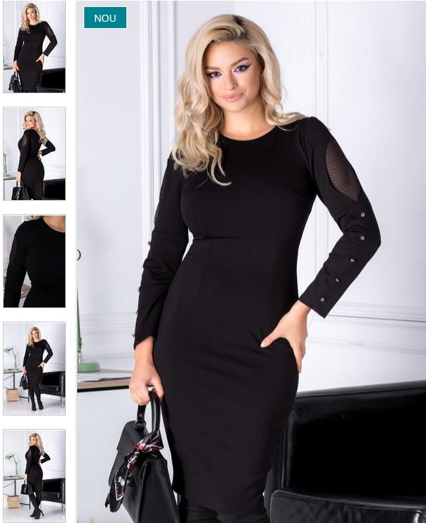 Rochie neagra office de iarna cu maneci lungi eleganta