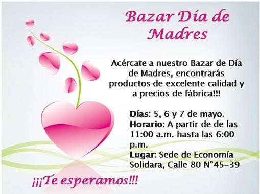 Invitacion DÍa De Las Madres RegiÓn: CEDEZO Moravia: INVITACION AL BAZAR DE DIA DE MADRES EN LA