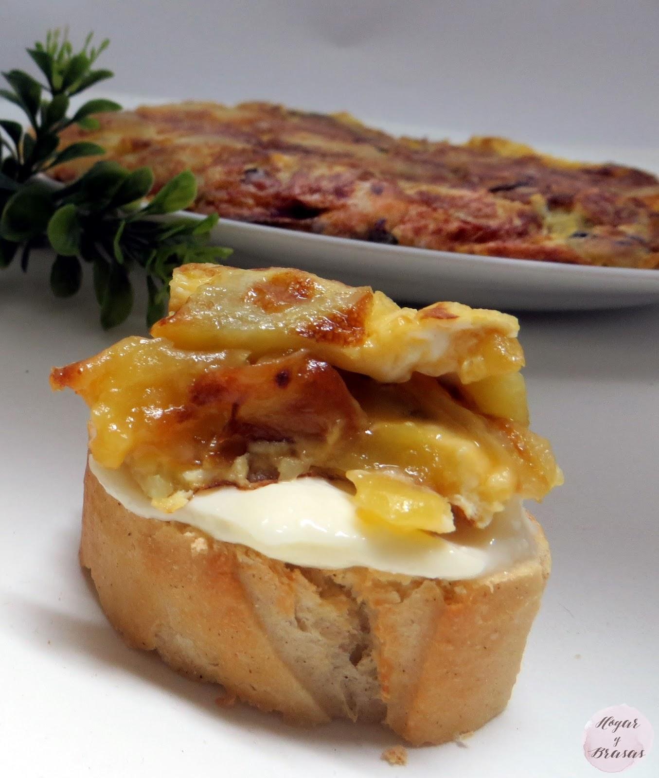 tortilla de patata y cebolla con ajoaceite